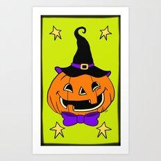Vintage Halloween Jack O Lantern Art Print