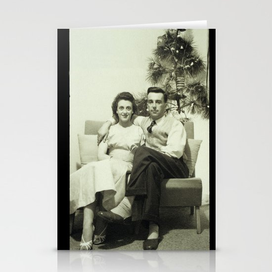Merry Christmas from us to you, from past to present Stationery Card
