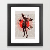 Shark Lady · Honey, what do you do for money? Framed Art Print