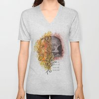 Lady and a skull Unisex V-Neck