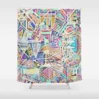 Geometric Abstract Lines Labirinth  Shower Curtain