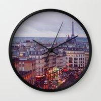 Rainy Paris. Wall Clock