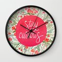 Stay Curious – Pink & Green Wall Clock