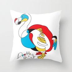 Doodle Bird Throw Pillow