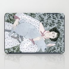 Girl and rabbit among flowers iPad Case