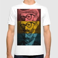 Hipster Van Gogh Mens Fitted Tee White SMALL