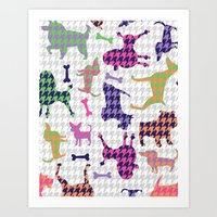 Houndstooth Hounds Art Print