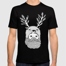 Portrait of Northern Deer Man Mens Fitted Tee Black SMALL