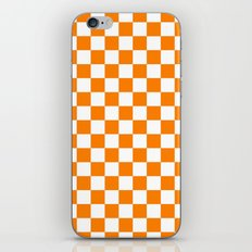 Checker (Orange/White) iPhone & iPod Skin