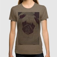 Pug Dog Womens Fitted Tee Tri-Coffee SMALL
