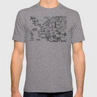 New York City Map Mens Fitted Tee Athletic Grey SMALL