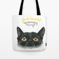 Black - Cat Tote Bag