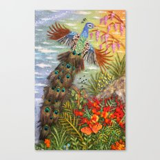 Peacock In Flight The Land Of The Peacocks2  Canvas Print