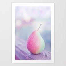 Summer still life with pastel pear Art Print