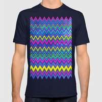 Neon Wave Mens Fitted Tee Navy SMALL