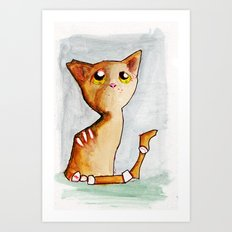 Orange Zombie Kitty Art Print