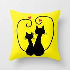 Valentine's Day Kittens Throw Pillow