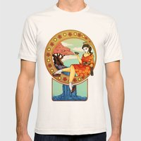 Art Nouveau Geisha  Mens Fitted Tee Natural SMALL