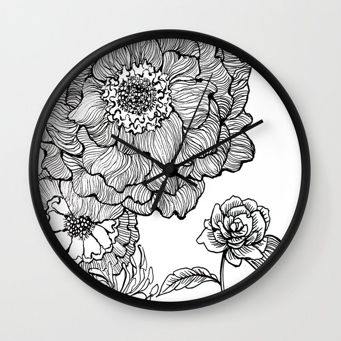 Line Drawing Clock : Flower line drawing wall clock by alisa burke society