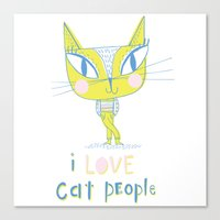 I LOVE Cat People - light Canvas Print