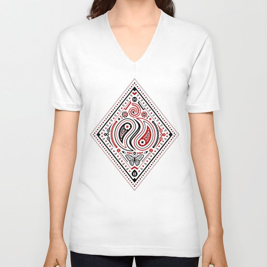 83 Drops - Diamonds (Red & Black) V-neck T-shirt