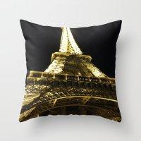 Tour Eiffel By Night Throw Pillow
