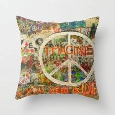Peace Sign - Love - Graffiti Throw Pillow