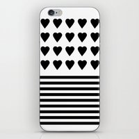 Heart Stripes Black On W… iPhone & iPod Skin