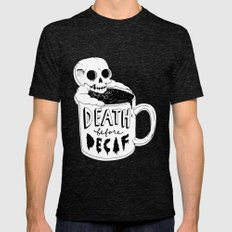 Death Before Decaf Mens Fitted Tee Tri-Black SMALL
