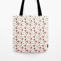 Strange Red Flowers Patt… Tote Bag