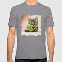 Cat Art illustration Mens Fitted Tee Tri-Grey SMALL