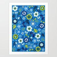 Folk Flowers (Blue) Art Print