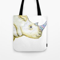 Striped Rhino Illustration Tote Bag