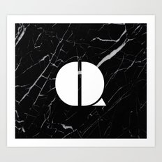 Black Marble - Alphabet Q Art Print