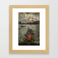 paper III :: octopus/ship Framed Art Print