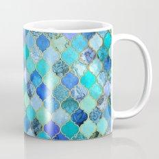 Cobalt Blue, Aqua & Gold Decorative Moroccan Tile Pattern Mug