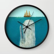 Wall Clock featuring The Whale  by Terry Fan