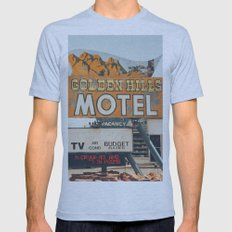GOLDEN HILLS MOTEL Mens Fitted Tee Athletic Blue SMALL