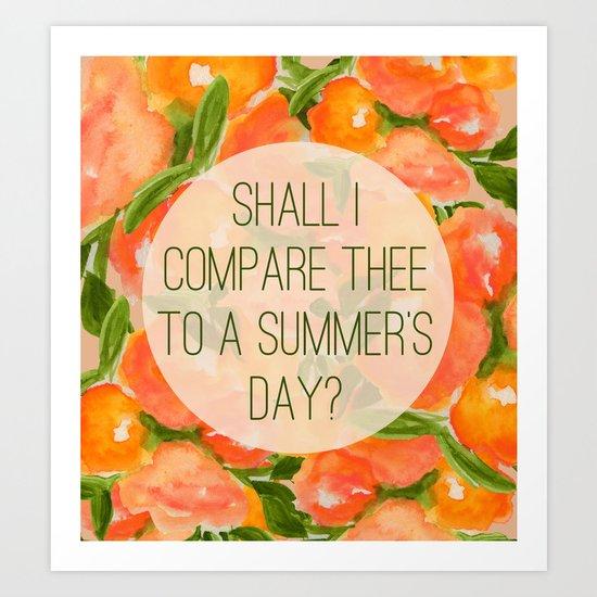 Shakespeare Sonnet 18 Art Print By Rebecca Allen Society6