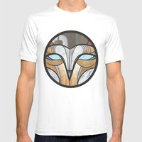 Owl Face Mens Fitted Tee White SMALL