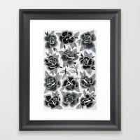 Dozen Roses - Black And … Framed Art Print