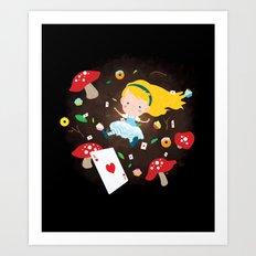 Alice Falling Down the Rabbit Hole Art Print