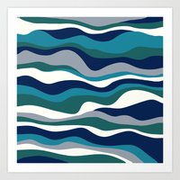 Cordillera Stripe: Teal … Art Print