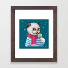 Ice cream & Snow Framed Art Print