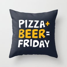 Pizza + beer = Friday Throw Pillow
