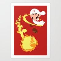 Mario - Fire Flower Mari… Art Print