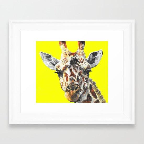 Neon Giraffe Framed Art Print