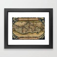 Vintage World Map - Ortelius World Map 1570 Framed Art Print