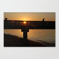 Dock at sunset Canvas Print