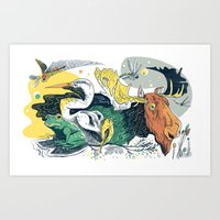 Animals in Nature Art Print